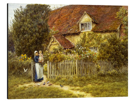 Alubild  Mutter und Kind am Landhaus - Helen Allingham