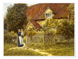 Helen Allingham - Mutter und Kind am Landhaus