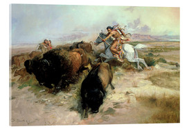 Acrylglasbild  Buffalo Hunt, 1897 - Charles Marion Russell