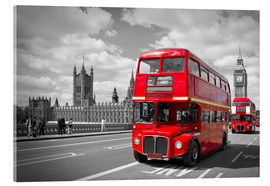 Acrylglas  Westminster Bridge and Red Buses - Melanie Viola