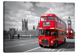 Leinwandbild  Westminster Bridge and Red Buses - Melanie Viola