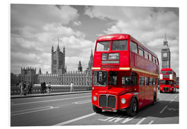 Hartschaumbild  Westminster Bridge and Red Buses - Melanie Viola