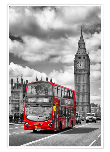 Premium-Poster Big Ben and Red Bus