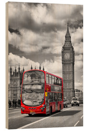 Holzbild  Big Ben and Red Bus - Melanie Viola