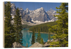 Holzbild  Moraine Lake vor Bergen - Paul Thompson
