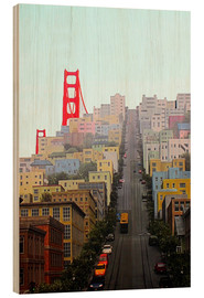 Holzbild  San Francisco und Golden Gate Bridge - John Morris