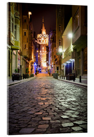 Acrylglasbild  The famous Galata-Tower at night (Istanbul/Turkey) - gn fotografie
