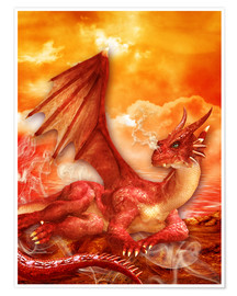 Poster  Roter Power Drache - Dolphins DreamDesign