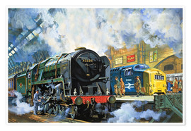 Poster  Evening Star, the last steam locomotive and the new diesel-electric Deltic - Harry Green