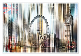 Premium-Poster London Skyline Collage blue Sky