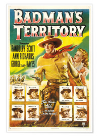 BADMAN'S TERRITORY, center from left: Randolph Scott, Ann Richards, bottom left clockwise: Lawrence