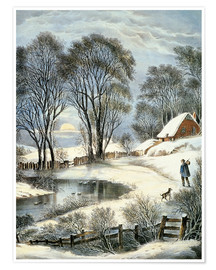 Poster Currier & Ives: Winter Moonlight.