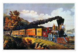 Premium-Poster  American Express Train. - N. & J.M. Currier & Ives