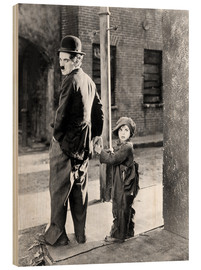 Holzbild  THE KID, Charles Chaplin, Jackie Coogan