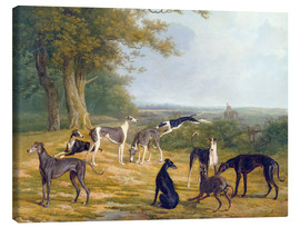 Jacques Laurent Agasse - Neun Windhunde in einer Landschaft
