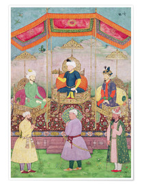 Dip Chand - Mughal Emperor Babur and his son, Humayan, Indian miniature from Rajasthan, 16th century