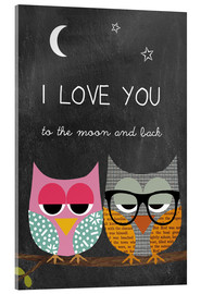 Acrylglasbild  Eulen - I love you to the moon and back - GreenNest