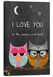 Leinwandbild  Eulen - I love you to the moon and back - GreenNest