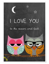 Poster Eulen - I love you to the moon and back