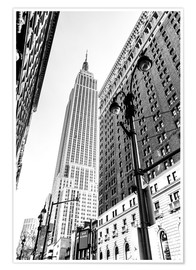 Poster New York City - Empire State Building (schwarz weiß)