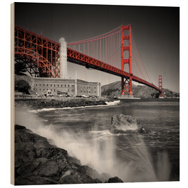 Holzbild  Golden Gate Bridge Fort Point - Melanie Viola