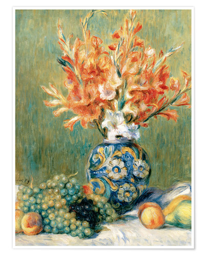 pierre auguste renoir stillleben mit obst und blumen poster online bestellen posterlounge. Black Bedroom Furniture Sets. Home Design Ideas
