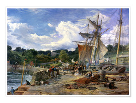 Premium-Poster  Am Pier, Aberdour, Firth of Forth, 1865 - Samuel Bough