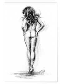 Premium-Poster Nude female sketch