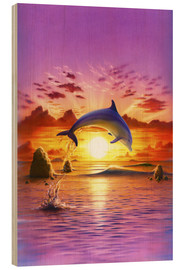 Holzbild  Day of the dolphin - sunset - Robin Koni