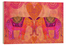 Holzbild  Elephants in Love - Andrea Haase