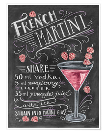 Premium-Poster  French Martini Rezept (Englisch) - Lily & Val