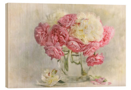 Holzbild  roses and peonies - Lizzy Pe