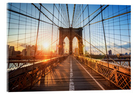 Acrylglasbild  Brooklyn Bridge in New York bei Sonnenaufgang - Jan Christopher Becke