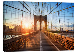 Leinwandbild  Brooklyn Bridge in New York bei Sonnenaufgang - Jan Christopher Becke