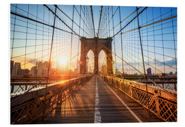 Hartschaumbild  Brooklyn Bridge in NY bei Sonnenaufgang - Jan Christopher Becke