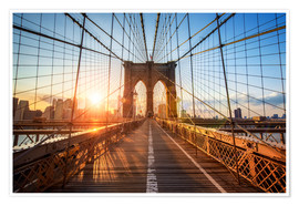 Premium-Poster Brooklyn Bridge in New York bei Sonnenaufgang