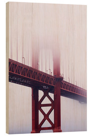 Holzbild  Golden Gate Bridge im Nebel - Jean Brooks
