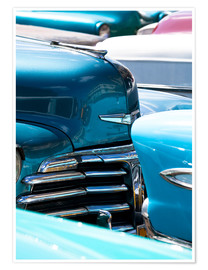 Premium-Poster  Vintage American cars parked on a street in Havana Centro, Havana, Cuba, West Indies, Central Americ - Lee Frost