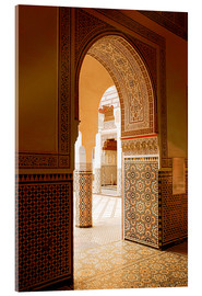 Acrylglasbild  Large patio columns with azulejos decor, Islamo-Andalucian art, Marrakech Museum, Marrakech, Morocco - Guy Thouvenin