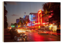 Holzbild  Ocean Drive, South Beach, Art Deco district, Miami Beach, Miami, Florida, United States of America, - Angelo Cavalli