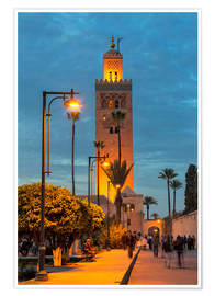 Premium-Poster  The Minaret of Koutoubia Mosque illuminated at night, UNESCO World Heritage Site, Marrakech, Morocco - Martin Child