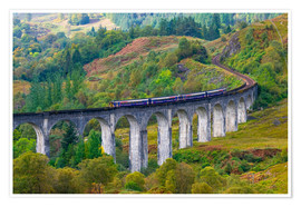 Premium-Poster Train on the Glenfinnan Railway Viaduct, part of the West Highland Line, Glenfinnan, Loch Shiel, Hig