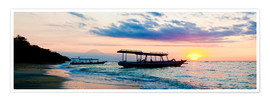 Matthew Williams-Ellis - Mount Agung on Bali and fishing boats silhouetted against a sunset, Gili Trawangan, Gili Isles, Indo