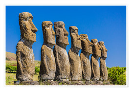 Michael Nolan - Seven Moai at Ahu Akivi, the first restored altar on Easter Island (Isla de Pascua) (Rapa Nui), UNES