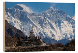 Holzbild  Tenzing Norgye Stupa & Mount Everest - John Woodworth
