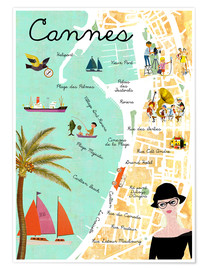 Premium-Poster  Cannes vintage Collage - GreenNest