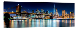 Acrylglas  New York City Skyline bei Nacht (Panorama) - Sascha Kilmer