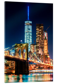 Acrylglasbild  Brooklyn Bridge und World Trade Center - Sascha Kilmer