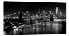 Acrylglasbild  New York City by Night (monochrom) - Sascha Kilmer