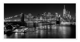 Premium-Poster New York City by Night (monochrom)